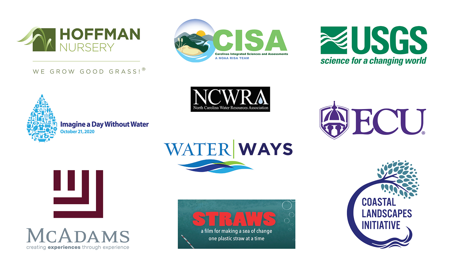 WRRI 2020 Annual Conference Sponsors are: Albemarle-Pamlico National Estuary Partnership, North Carolina Sea Grant, NC Space Grant, NC State CAAE, Clean Water Education Partnership, YSI–a Xylem Brand, MscConnell & Associates PC, North Carolina Humanities Council, Wake County, North Carolina Climate Office, Carolina Wetlands Association, Foster Lake & Pond Management, OTT HydroMet, Hoffman Nursery, Carolina Integrated Science and Assessments, U.S. Geological Survey, North Carolina Water Resources Association, East Carolina University, Imagine a Day Without Water, Smithsonian Institution's Water|Ways, McAdams, Straws the film, and the Coastal Landscapes Initiative.
