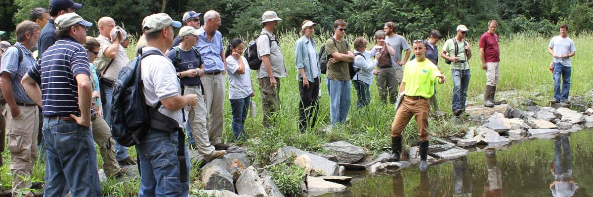 Erik Hanimandiscusses the design of the Cobbs Creek (Indian Creek) Habitat Restoration