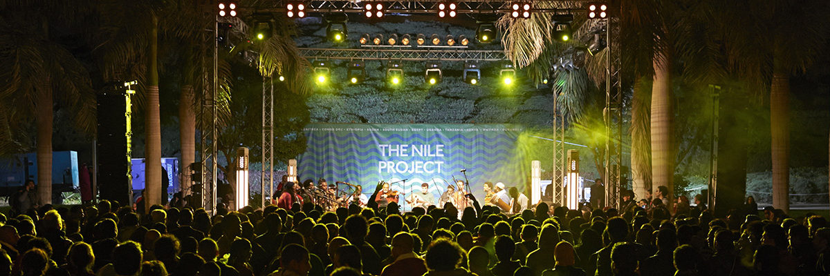 Nile Project concert in Al Azhar Park, Cairo, Egypt, 31 January, 2013. The Nile Project was founded in August 2011 by Egyptian ethnomusicologist Mina Girgis and Ethiopian-American singer Meklit Hadero to address the Nile basin's cultural and environmental challenges using an innovative approach that combines music, education and an enterprise platform. www.nileproject.org