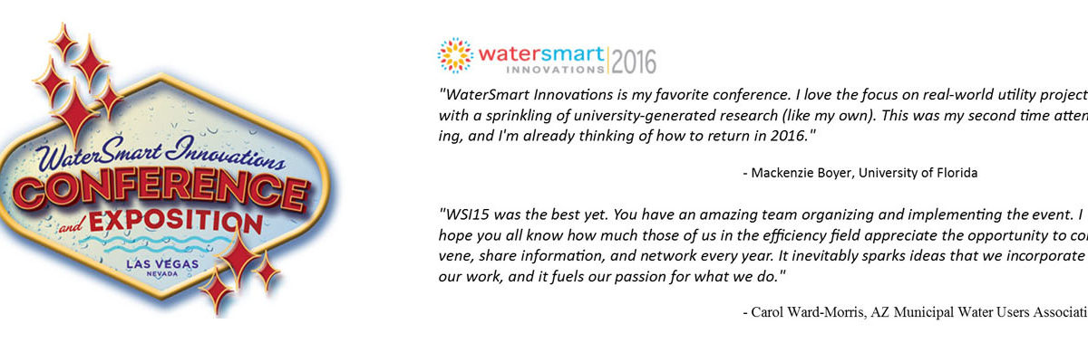 Testimonial and logo for Water Smart Innovations conference