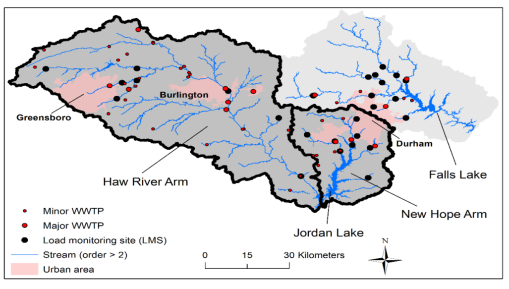 Figure of the Jordan and Falls Lake watersheds, as well as nutrient load monitoring sites used to collect nutrient data for calibrating the model, and major and minor wastewater treatment plants.